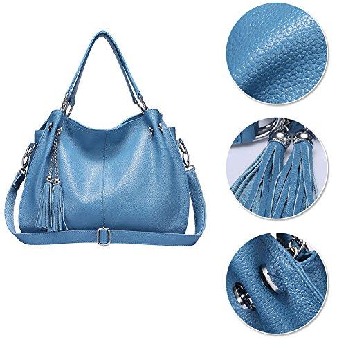 Yoome Borsa in vera pelle di vacchetta Borsa a mano in nappa da donna Borsa vintage - Blu Giallo
