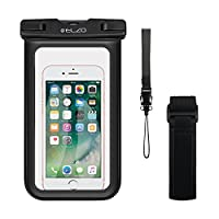 Elzo Waterproof Phone Case, Universal Transparent IPX8-Rated Underwater Dry Bag Pouch with Armband for iPhone 7 6 6S Plus SE 5S 5C, Samsung Galaxy S8, S7 S6 edge, LG, Huawei, HTC and Other Smartphones up to 6 inch (Black_Armband)