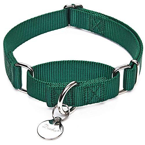 Dazzber Martingal Halsbänder für Hunde, Verstellbar Langlebig Kein Escape Stop Ziehen Hundehalsband Nylon für Große/Mittlere/Kleine Hunde (XS(20cm-30cm), Dunkelgrün) -