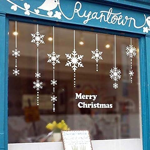 Pegatinas de Navidad decoracion fiesta extraíbles adorable Papá Noel nieve alce colores pegatina de pared etiqueta engomada de cristal