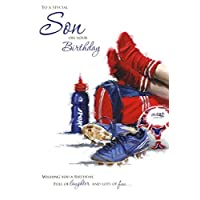 Birthday / Greetings Card - Son - Football Boots & Kit - Embossed Finish (0602)