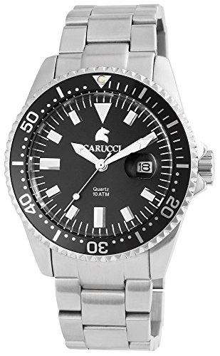 Carucci, orologio analogico da uomo con cinturino in acciaio inox, al quarzo, color argento, 10ATM, CA2217