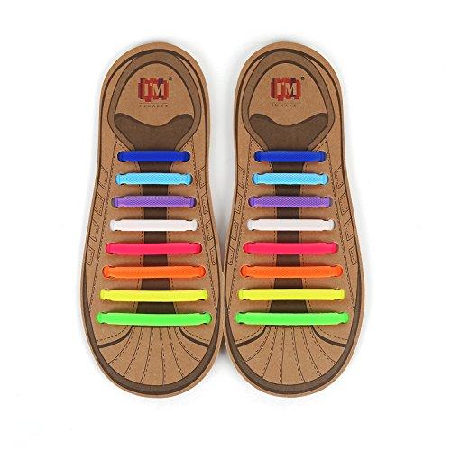INMAKER Schnürsenkel ohne Binden; elastischer Silikon Schnürsenkel für Erwachsene und Jugend; 3 Größen zur Anpassung von allen Typen der Füße und der Schuhe, Mehrfarbig, L (Jugend-skate-schuhe 3)