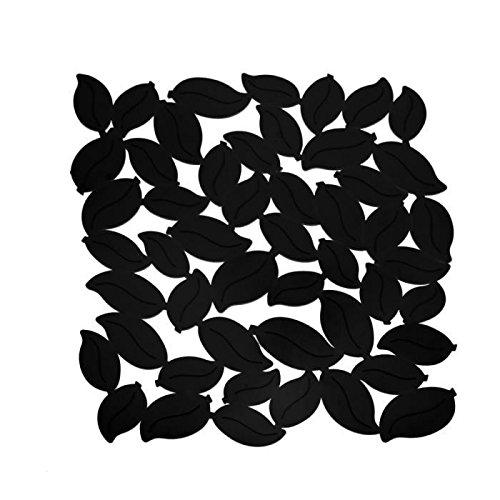 Tapis fond d'évier PVC noir forme feuilles