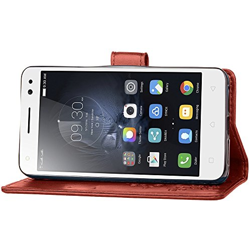 Double Magnetic Back Sucktion Retro Style PU Leder Flip Stand Case mit Kickstand und Wallet Pouch Funktion für Lenovo S1 Lite ( Color : Gray ) Brown