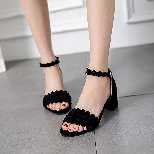 XY&GKMädchen mit groben Spitze mit Sandalen All-Match Toe Schnalle ein Schüler von Rom High Heels, komfortabel und schön 39 black