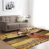 CHAOSE Leichte Weiche Polyester-Baumwolle Bedruckte Fläche Teppich Bodenmatte Glückliche Musikserie Für Wohnzimmer und Schlafzimmer (Altes Ägypten 2, 72 x 48 in(182.9 x 121.9 cm))