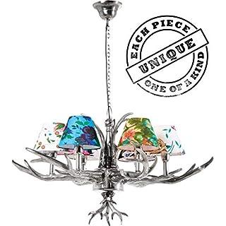 Kare Hängeleuchte Antler Flowers, Silber, rustikale Lampe mit Hirschgeweih, ausgefallene Lampenschirme mit Blumenmuster, Design Kronleuchter, (H/B/T) 66x75x75cm, 6er