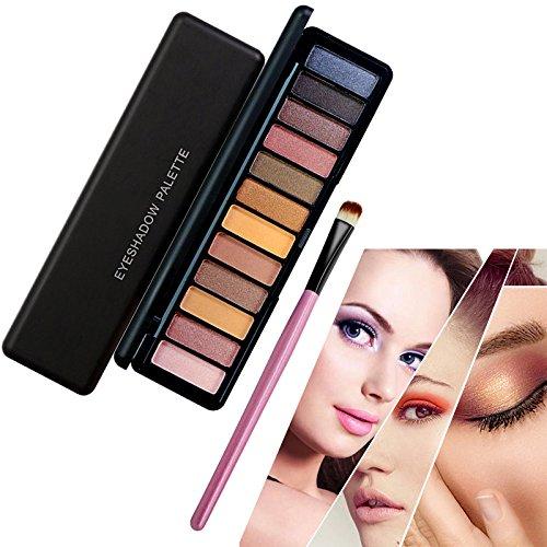 12 Farben Lidschatten Palette Make Up, TOFAR Hochpigmentierte Warme Natürliche Farben Schimmernde Töne Naked Nude Kosmetik Eyeshadows mit Augen Make Up Pinsel Set - #2