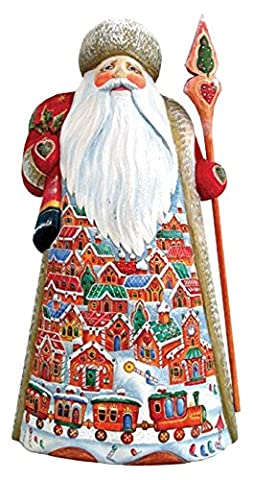 G. Debrekht Carved Wood and Hand-Painted Gingerbread Village Santa, 10