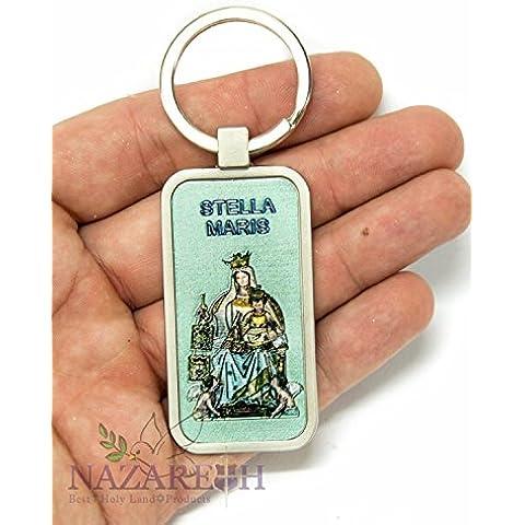 Stella Maris Stella del mare cattolica Keychain portachiavi Terrasanta fascino 2,4
