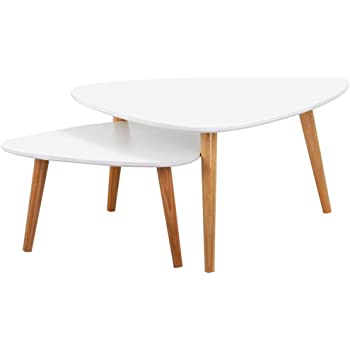 0507016a09 Popamazing Set of 2 Modern Nest of Tables White Gloss Wood Coffee Table  Sofa Side End Table Living Room(large table:78.5x78.5x40 cm ;small table ...