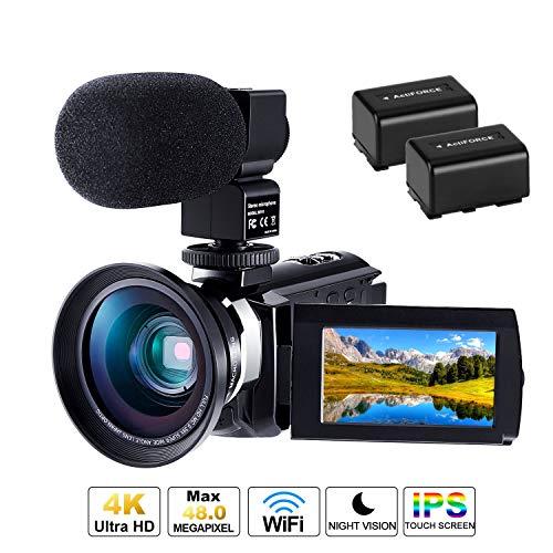 Caméscope 4K Caméra Numérique Ultra HD 1080P 60FPS Micro Camescope CofunKool 48MP avec Vision Nocturne Infrarouge WiFi Caméscope Numérique avec Microphone Objectif Micro Grand Angle et 2 Piles