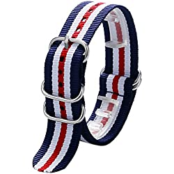 YISUYA 20mm Nylon Striped Blue /White/Red American Flag Color Replacement Watch Strap Band
