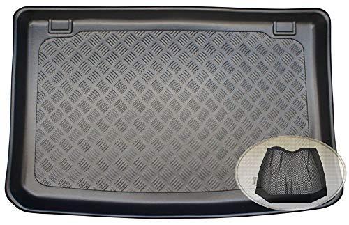 ZentimeX Z3342374 Geriffelte Kofferraumwanne fahrzeugspezifisch + Klett-Organizer (Laderaumwanne, Kofferraummatte)
