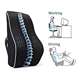 PROMIC Memory Foam Contoured Seat, Lower Back Support Cushion,Portable Ergonomic Back Cushion for Home, Office, Chair, Car and More.Reduce Back Ache, Improve Posture