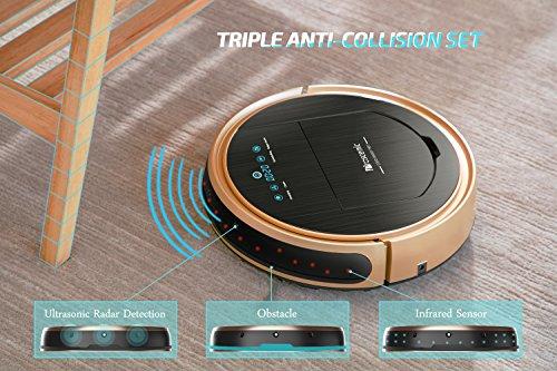Proscenic 790T Aspirateur Robot WiFi (Aspirateur et Laveur de Sol 2 en 1) Programmable sur l'Application, Aspiration Puissante sur Tapis, Moquettes et Sols Dur, Recharge Automatique, Or