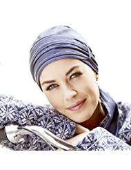 Pañuelo de algodón con forro interior color tejano con puntada blanca