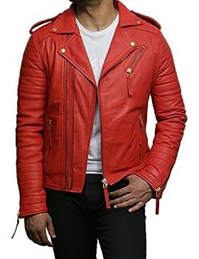 Brandslock Chaqueta de cuero para hombre Premium Lamb Skin Red Slim Fit Cruz Zip Vintage Brando Leather Biker...