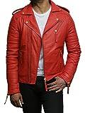 Brandslock Herren Lederjacke Premium Lamm Skin Rot Slim Fit Kreuz Zip Vintage Brando Leder Biker Jacke (XL, Rot)