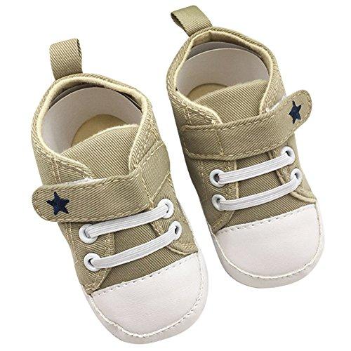 ROPALIA Baby Basic Segeltuch Turnschuh weichen Boden Prewalker Krippe Schuhe Khaki