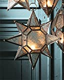 Hängelaterne, groß, aus Glas, in marokkanischem Stil, Sternform