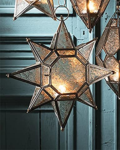Large moroccan style hanging star glass lantern