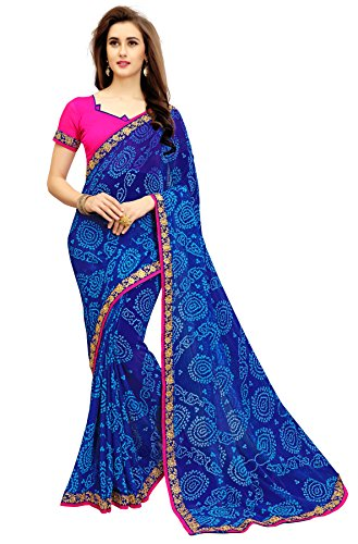 Zofey Designer Sarees Women's Chiffon Embroidered Saree With Blouse Piece(PoonamBlue-SAREE01_Blue_COLOUR)