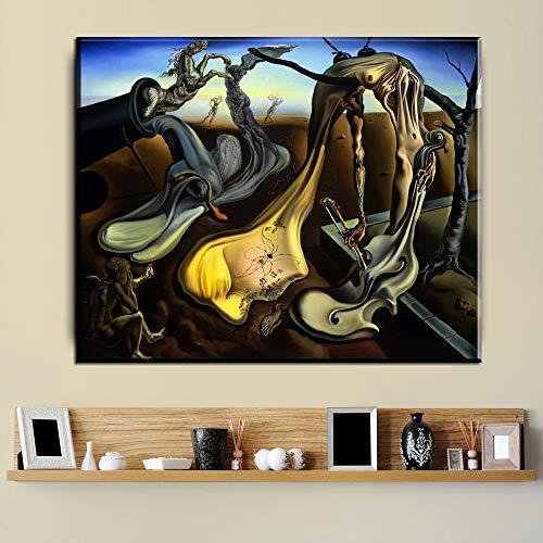 baodanla Pittura a Olio Frameless abbellire Astratto Salvador Dali Still Life Wall Art Poster per Soggiorno Modern Home Decor HD Print Canv60x90cm