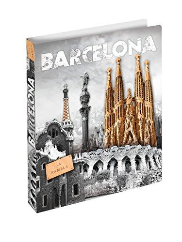 Herma 19136 Ringbuch DIN A4 mit Städte Motiv Barcelona Spanien, Kunststoff, 2 Ringe, schmal, flexibel, leicht, 25 mm Rückenbreite, 1 Ringbuchmappe