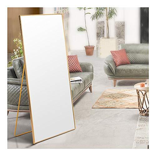 AUFHELLEN Miroir avec Cadre en Métal 140x40cm HD Miroir sur Pied avec Crochet pour Salon ou Dressing (Noir)