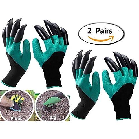 Griffe gaucher Gants de jardinage (Griffe double-2 paires) pour Creuser et Plantation, Eiito gants de jardin gants pour ronces Meilleur cadeau pour Jardiniers gant de sécurité travail