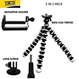 Taslar(TM) Flexible Octopus Foldable Style Mini Tripod For Mobile Phone, Camera, DSLR, Smartphones With Universal Mobile Monopod Mount Adapter & Long Screw Accessory (For Yi Action Cam) - White Black