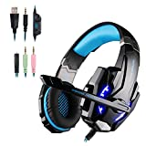 Gaming Headset für PS4, Over Ear Kopfhörer PC mit Mikrofon Surround Sound und LEDs Noise Cancelling für Xbox One/PC/Iphone/Laptop/Mac/Handy (mit Adapter)