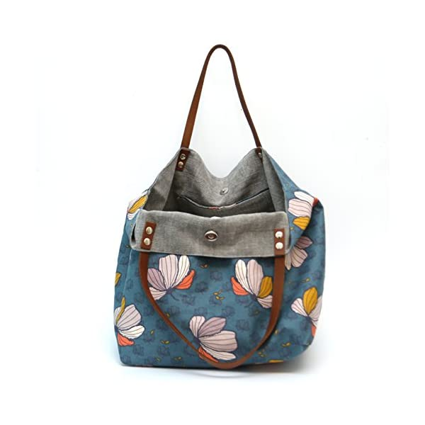 Tote bag big flowers on a blue background and gray interior - handmade-bags