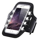 Finoo Handytasche Sport Armband mit LED-Licht & Schlüsselfach Sweatproof für 6,0 Zoll Ideal fürs Joggen Schutzhülle Smartphone Halter Samsung Galaxy A5 2016 Schwarz