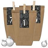 Papierdrachen 24 Adventskalender Geschenktüten mit 24 Zahlenaufklebern und Klammern - zum selber Basteln - DIY Set Adventskalender zum Befüllen für Erwachsene - Design Nr 33