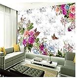 Carte da parati non tessute murali della natura 3D per le pareti del salone Decorazioni per la casa Murales personalizzati Foto murali Fiori rosa Carte da parati bianche moderne