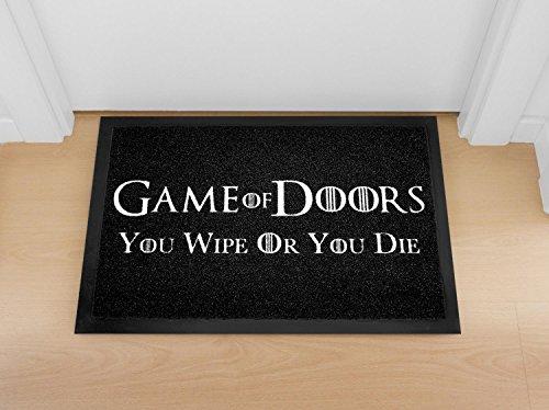Close Up Game of Doors - You Wipe Or You Die | waschbare Fußmatte - Türmatte - schwarz/weiß (60 x 40 cm)