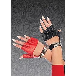 Magic Box Womens Harley Quinn Estilo Rojo y Negro Guantes