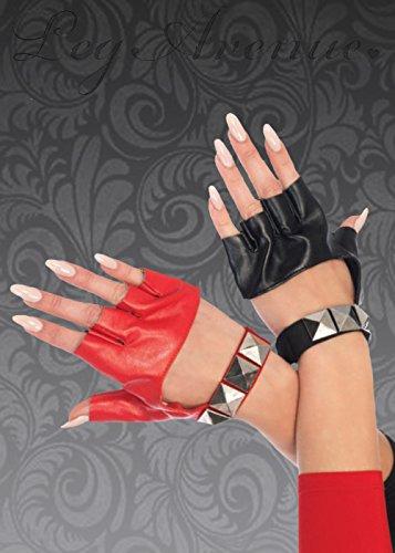 Frauen Harley Quinn Style Rote und schwarze Handschuhe (Bösewicht Kostüme Für Frauen)