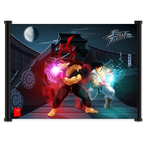 Street Fighter Anime Game Ryu vs Evil Ryu Fabric Wall Scroll Poster (21