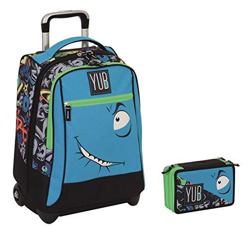 Trolley yub maxi + astuccio 3 zip - svalvolati - blu faccina - spallacci a scomparsa! uso zaino scuola e viaggio
