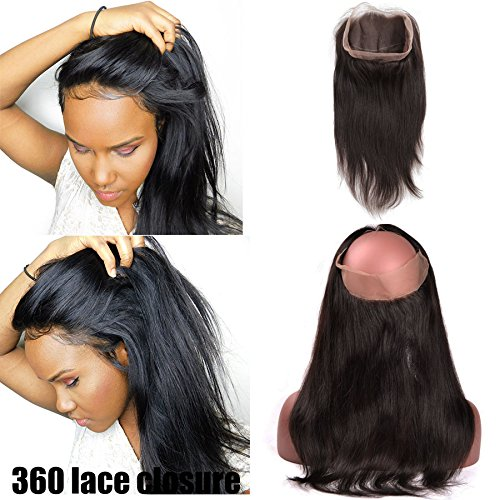 360 Lace Frontal Closure Lisse Tissage Bresilien 8A With Baby Hair 14pouces=35cm 100% Cheveux Humain Naturels Virgin Hair Straight Hair RICHAIR