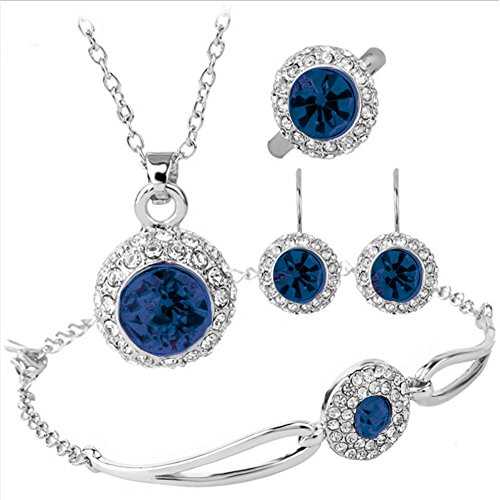 Silver Plated Cubic Zirconia Dark Blue Rhinestone Halo Pendant Necklace Bracelet Earrings Ring Jewelry Set, Best Christmas / Birthday Gift for Mother, Wife, Daughter, Girls