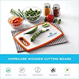 Homecare Double Sided Antibacterial Bamboo Wooden Fruit & Vegetable Chopping Cutting Board for Kitchen with Non-Slip 100% BPA Free Plastic Holding Handles (19.8 * 26.6 * 1.3 C.M.) - Small Size