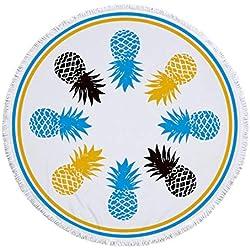 RDTFGYV Toalla De Playa De Microfibra De Mandala para Adultos Tapete Manta De Borla De Yoga Grande Redonda Toalla De Piña Impresa 150 Cm Tapiz Decoración del Hogar