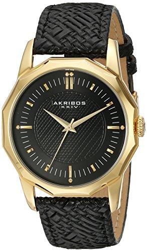 Akribos XXIV Hommes de montre à quartz avec affichage analogique et bracelet en cuir noir cadran noir ak825ygb
