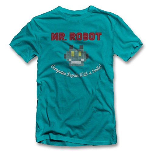 Mr Robot Computer Repair With A Smile T-Shirt S-XXL 12 Farben / Colours Türkis