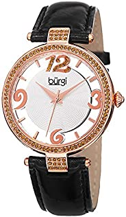 Burgi Women's Swarovski Crystal Accents Watch - Engraved Sunburst Guilloche Center Dial with See Thru Bord